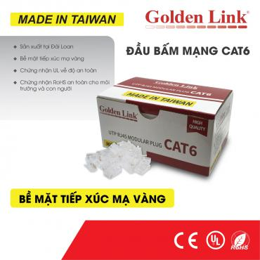 ĐẦU BẤM MẠNG RJ45 GOLDEN LINK CAT6 UTP MADE IN TAIWAN